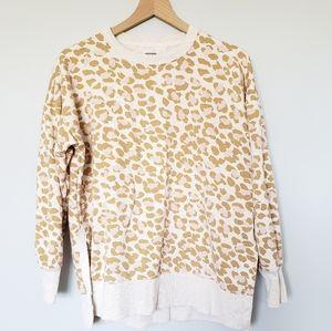 Aerie Desert Leopard Oversized Sweatshirt Tan Sz S